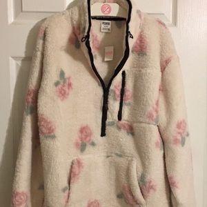 VS PINK Flowers 🌸 Teddy Half-Zip Sherpa Pullover